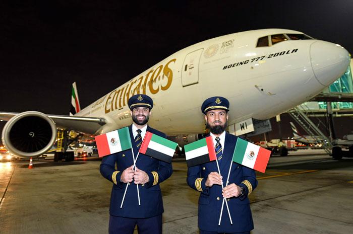 Emirates opera seu primeiro voo para o México