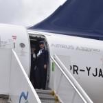 Comissárias de bordo ao final do voo do A321 para Recife