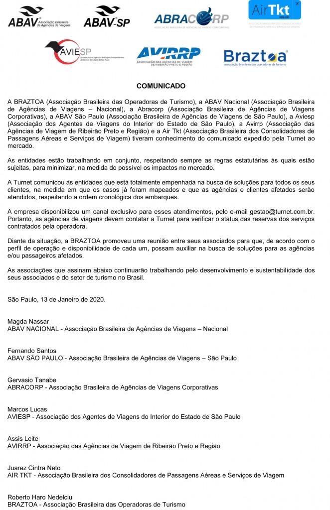 Comunicado Entidades - Turnet - 13 de Janeiro de 2020