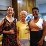 Cristiane Vento, da Rail Europe; Maria Cristina, da Vectra Viagens; e Bea Alves, da Atout France