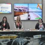 Larissa Galo, Laura Squeri e Mara Adeodato, do estande do Ceará