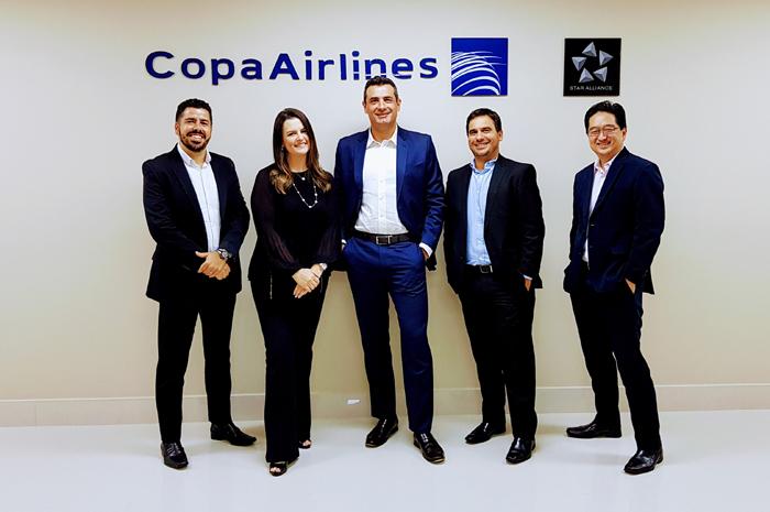 Raphael de Lucca, Jacqueline Miranda,Carlos Antunes, Gilson Azevedo e Cássio Takano, da Copa Airlines (Foto: divulgação)