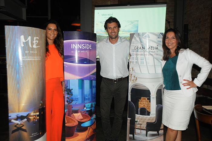 Debora Orlov, do Gran Melia Iguazú, Fernando Gagliardi, do Meliá, e Adriana Machion, representante da Meliá no Rio