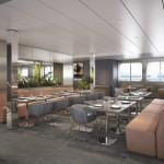 Reflections Restaurant tem capacidade para receber a todos os passageiros do navio