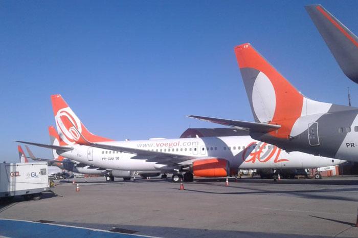 Aeronaves da Gol paradas no aeroporto de Congonhas