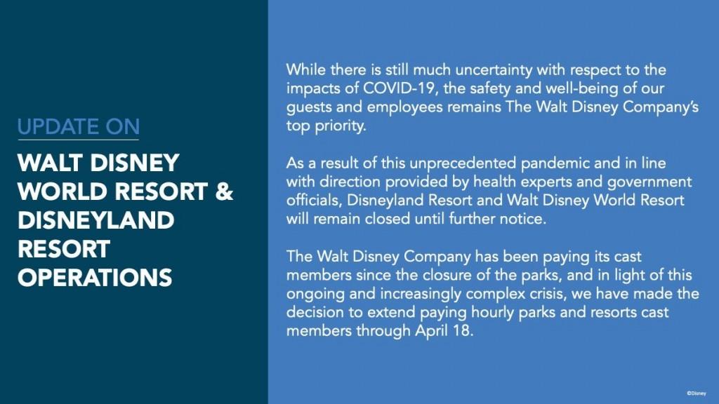 Comunicado divulgado nesta sexta (27) nas mídias sociais da Disney