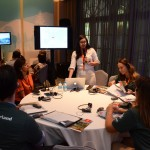 Heloísa Kasahaya, da Swiss Deluxe Hotels durante apresentação para os agentes