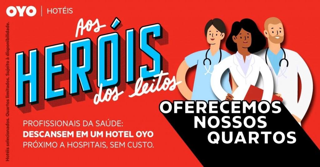 A ação vale até maio e oferece hospedagem gratuita para os profissionais da saúde de todo o país
