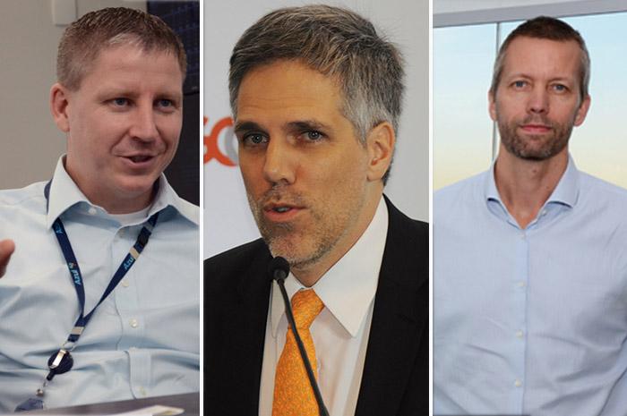 John Rodgerson, Paulo Kakinoff e Jerome Cadier, presidentes da Azul, Gol e Latam Brasil