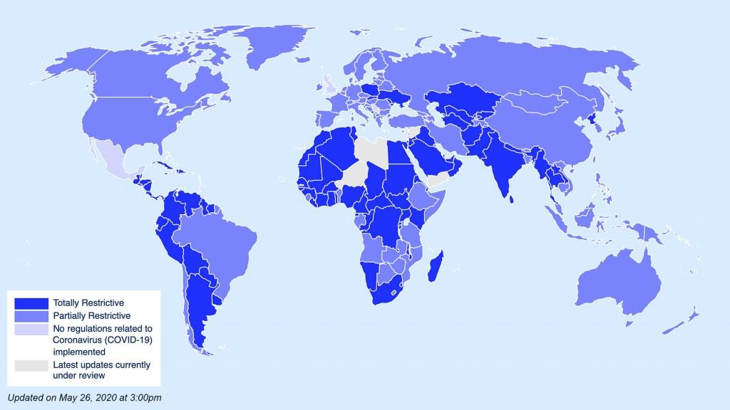 Mapa mostra restrições em cada país