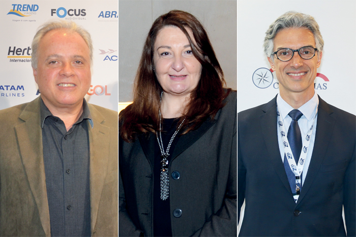 Carlos Prado, Magda Nassar e Marco Ferras, presidentes da Abracorp, Abav e Clia, respectivamente