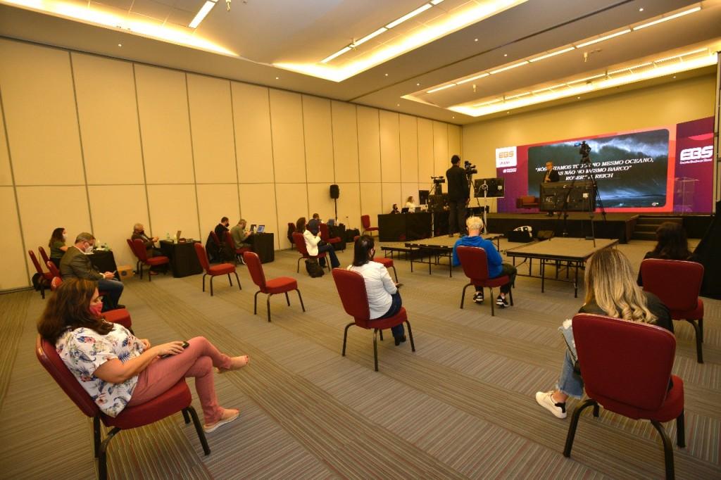 Espaço montado no Centro de Convenções Rebouças para a realização da EBS Virtual