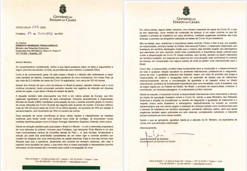 Ofício enviado pelo governador do Ceará