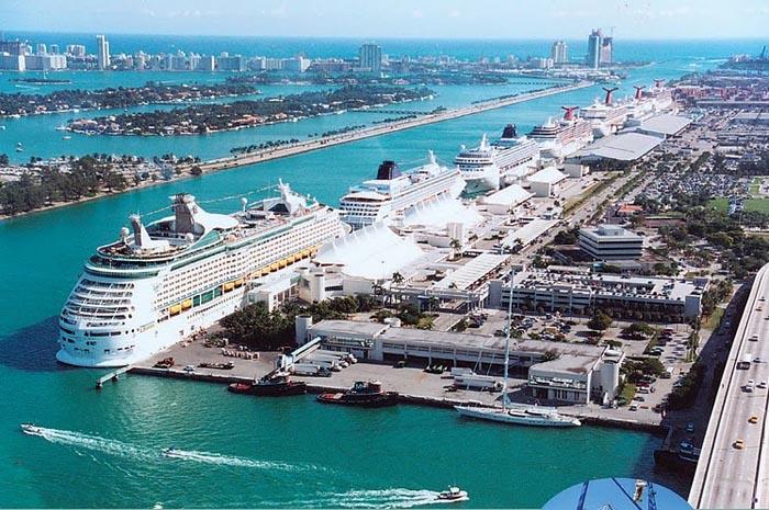 Porto de Miami, um dos mais movimentados dos Estados Unidos
