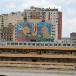 Três murais em empenas frente ao Mirante de Arte da Sapucaí