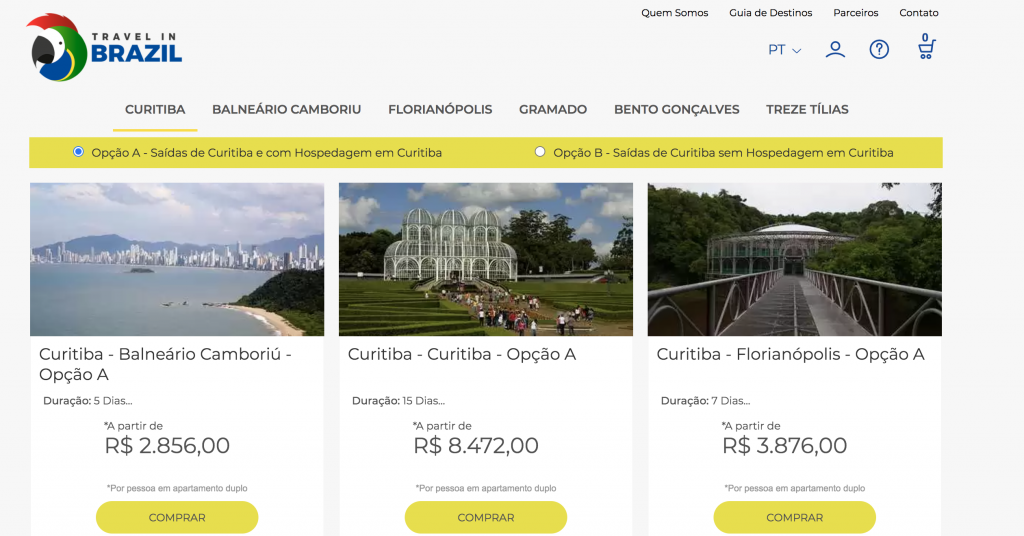 Site do 'Travel in Brazil'