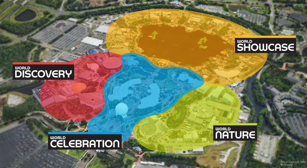 As part of its historic transformation, EPCOT at Walt Disney World Resort in Lake Buena Vista, Fla., will be unified with four neighborhoods that each speak to important aspects of the world and its people: World Showcase, World Celebration, World Nature and World Discovery. These neighborhoods will be filled with new experiences rooted in authenticity and innovation. (Disney)