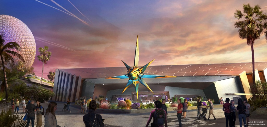"""Artist concept rendering: Guardians of the Galaxy: Cosmic Rewind will be the first """"other-world"""" showcase pavilion at EPCOT at Walt Disney World Resort in Lake Buena Vista, Fla. The adventure starts in the Galaxarium, a planetarium-like exhibition that explores the similarities and mysteries of the formation of Earth's galaxy and Xandar. Guests will be invited to learn more about the treasures Xandar has to share – until the moment when the Guardians of the Galaxy arrive, and adventures across the cosmos ensue. The attraction will feature a new innovation from Walt Disney Imagineering – a storytelling coaster that rotates 360 degrees to focus guests on the action, including the first reverse launch on a Disney coaster. (Disney)"""
