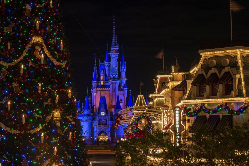 Holiday décor adorns Magic Kingdom Park at Walt Disney World Resort in Lake Buena Vista, Fla., for the 2020 season. Holiday festivities begin Nov. 6, 2020, and continue through Dec. 30 at The Most Magical Place on Earth. (Matt Stroshane, photographer)