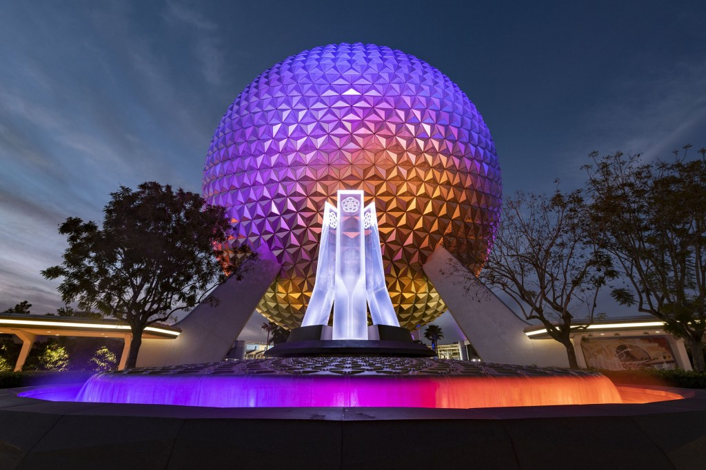 A reimagined fountain at the main entrance of EPCOT shines in front of Spaceship Earth at Walt Disney World Resort in Lake Buena Vista, Fla., Dec. 22, 2020. The fountain hearkens back to the origins of EPCOT and is the next milestone in the park's ongoing historic transformation. (David Roark, photographer)