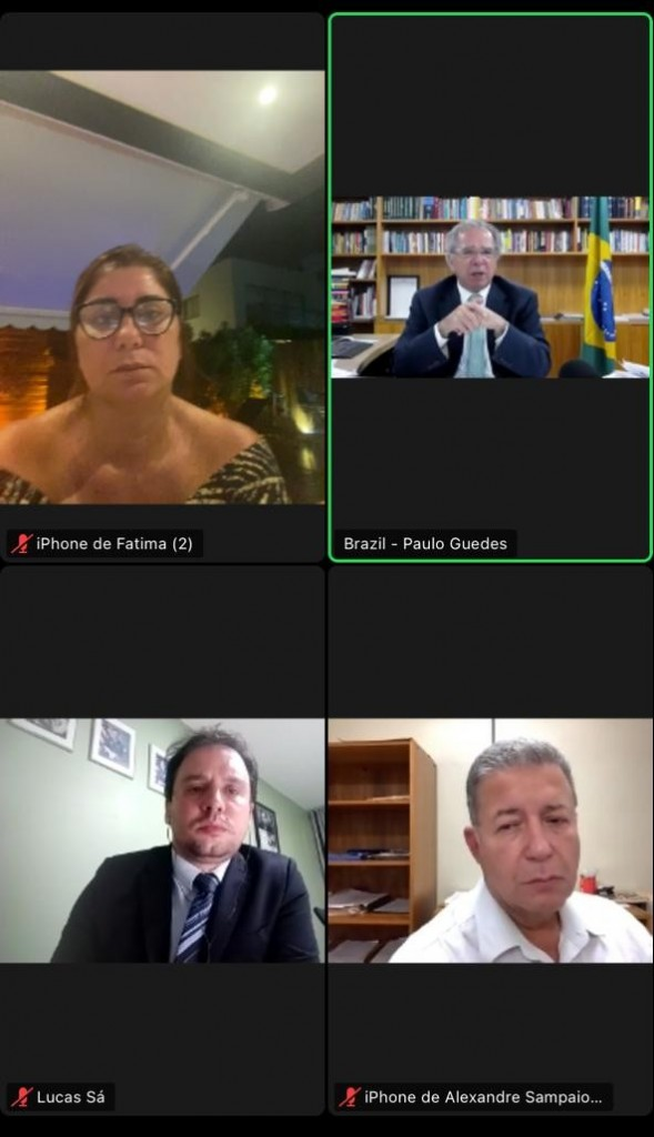 Alexandre Sampaio em videoconferência com Paulo Guedes