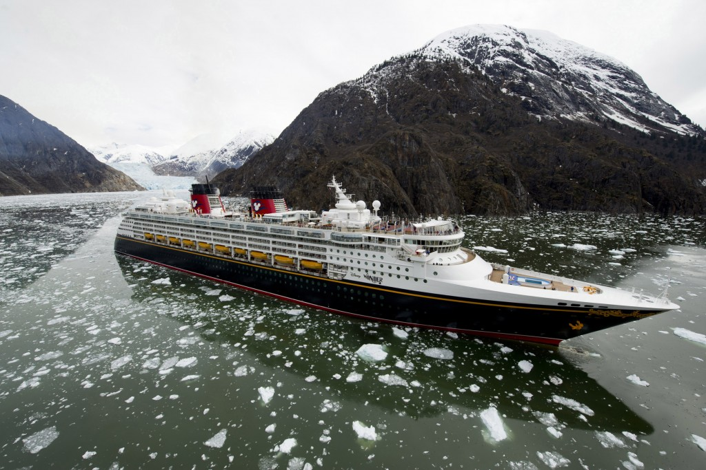 The Disney Wonder cruise ship sails past glaciers in a fjord as part of its Alaska itinerary. These scenic destinations are home to towering waterfalls, mammoth glaciers, rugged mountaintops and wildlife. (Diana Zalucky, photographer)