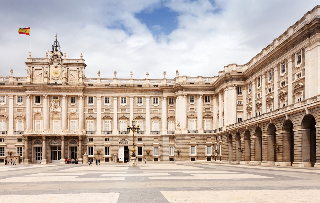 Front view of Royal Palace. Madrid, Spain