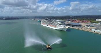 MSC Virtuosa chega a Southampton para iniciar cruzeiros na próxima quinta (20)