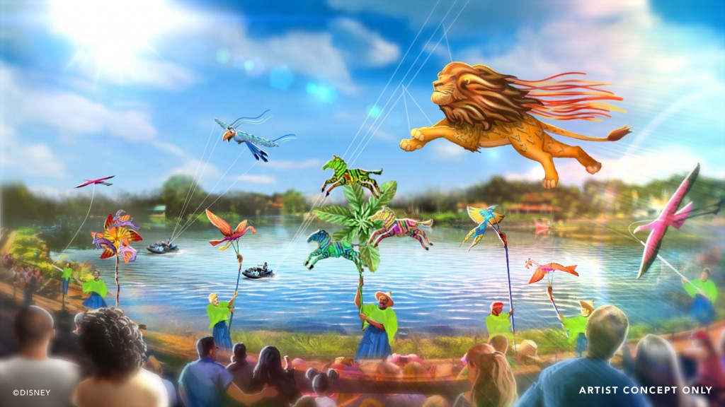 """""""Disney KiteTails"""" will launch Oct. 1, 2021, at Disney's Animal Kingdom Theme Park in Lake Buena Vista, Fla. This new entertainment experience will come alive multiple times throughout the day at Discovery River Amphitheater, featuring performers flying windcatchers and kites of all shapes and sizes. Out on the water, elaborate three-dimensional kites – some stretching to 30 feet long – will depict Disney animal friends, including Simba, Zazu, Baloo and King Louie. (Disney)"""