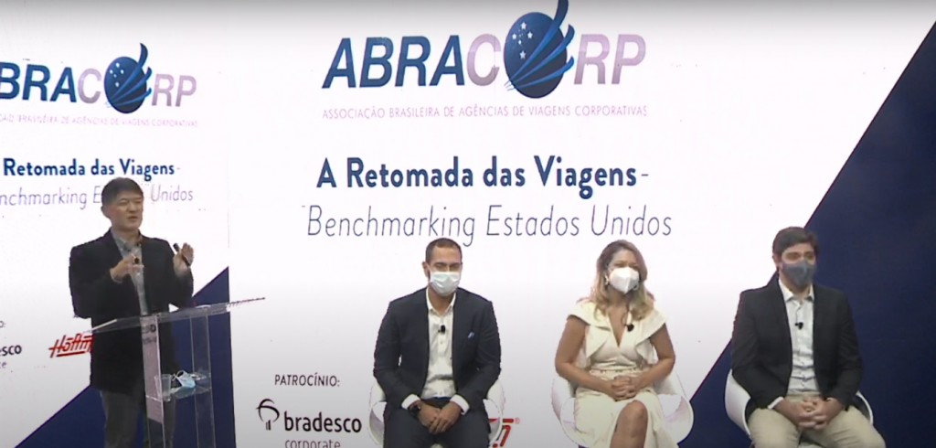 Gervásio Tanabe, da Abracorp, Alexandre Cavalcante, da American Airlines, Jacqueline Conrado, da United, e Rodrigo Sienra, da Delta