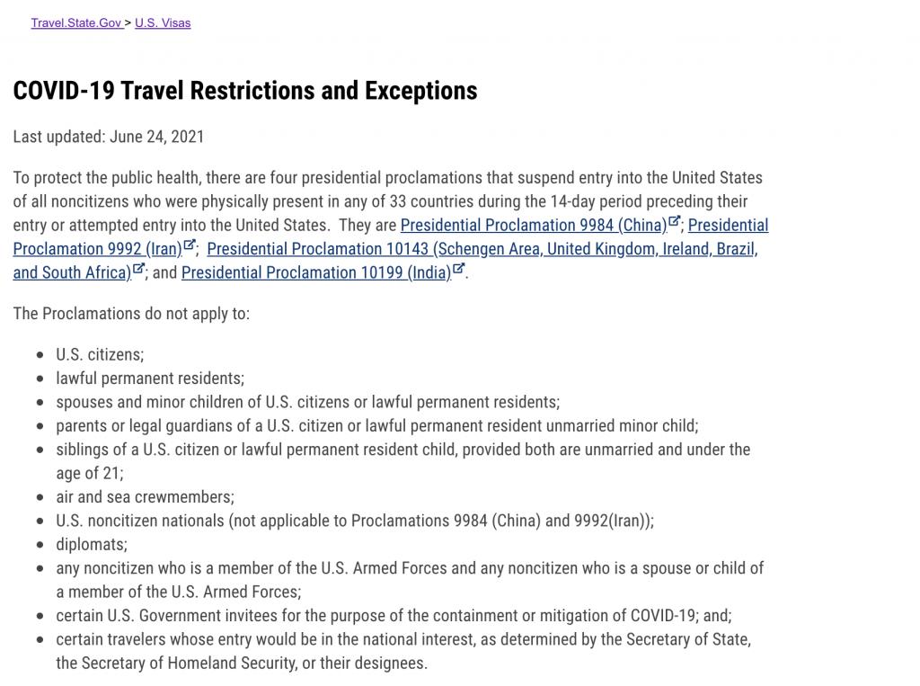 Site do Departamento de Estado dos EUA mostra restrições