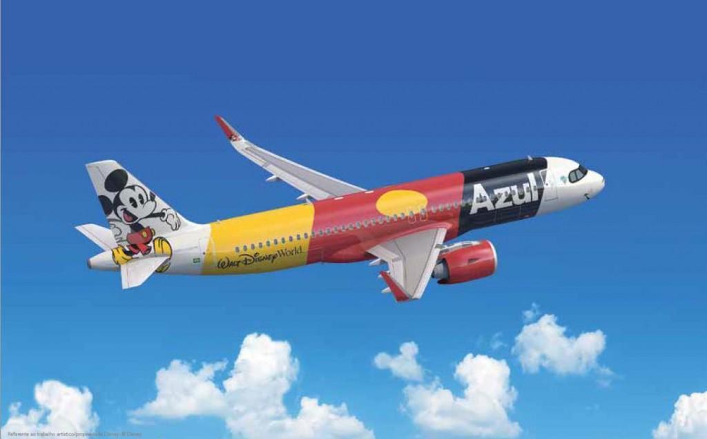 A320 da Azul Linhas Aéreas estilizado em homenagem aos 50 anos do Walt Disney Resort