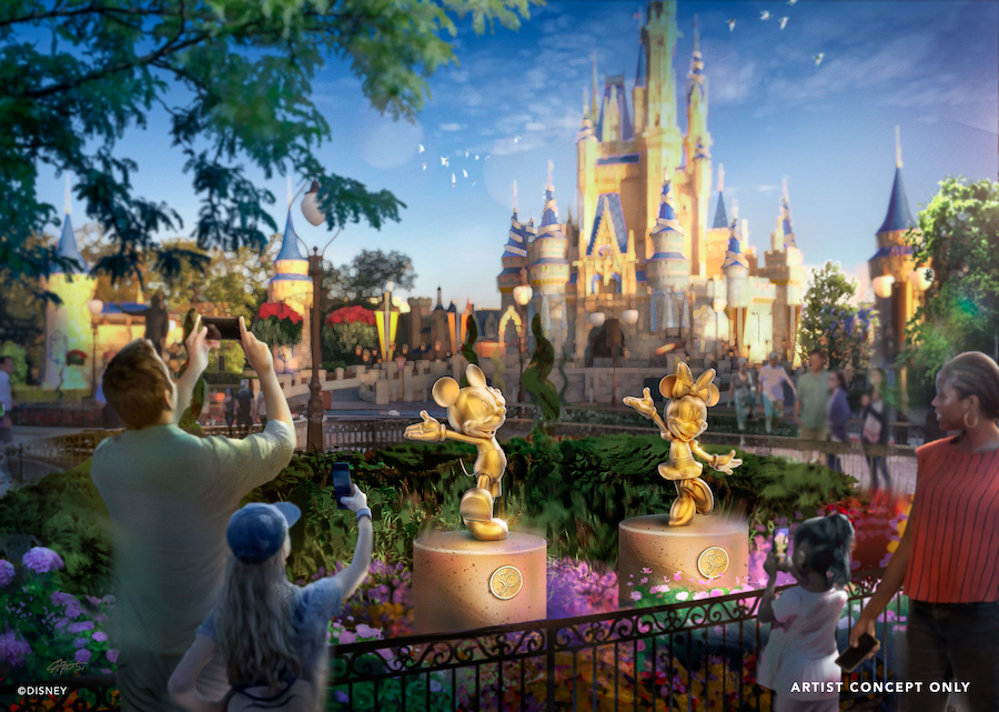 """In this artist rendering Mickey Mouse and Minnie Mouse are featured as special golden character sculptures in Magic Kingdom Park at Walt Disney World Resort in Lake Buena Vista, Fla. They will be joined by 50 characters as part of the """"Disney Fab 50,"""" a new collection of golden sculptures debuting Oct. 1, 2021, across all four Walt Disney World theme parks as part of """"The World's Most Magical Celebration"""" honoring the 50th anniversary of Walt Disney World Resort. (Disney)"""